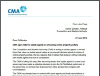 TPO urges agents to review CMA's 'Open letter' (Click to zoom)
